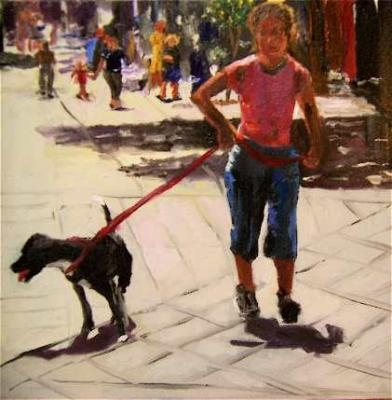 _dog_day_afternoon__woman_walking_dog_in_city_6408a8aa99e27c2f71f383f0599b4598