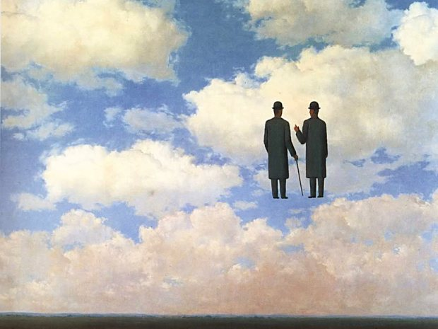 free_wallpaper_of_an_abstract_paintingtwo_men_talking_on_the_clouds_